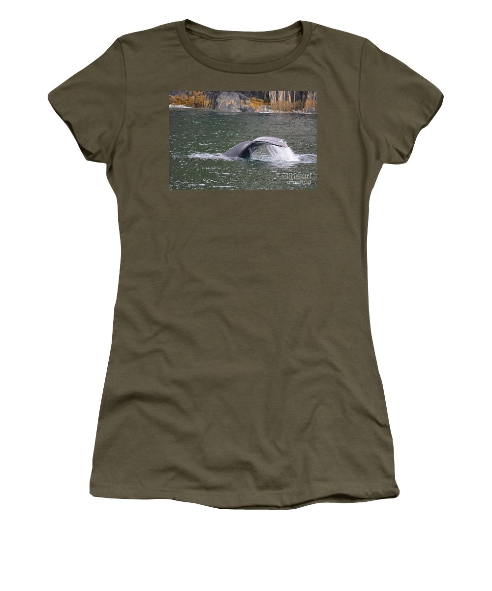 Whale Women's T-Shirt featuring the photograph Tail Falls by Deanna Cagle