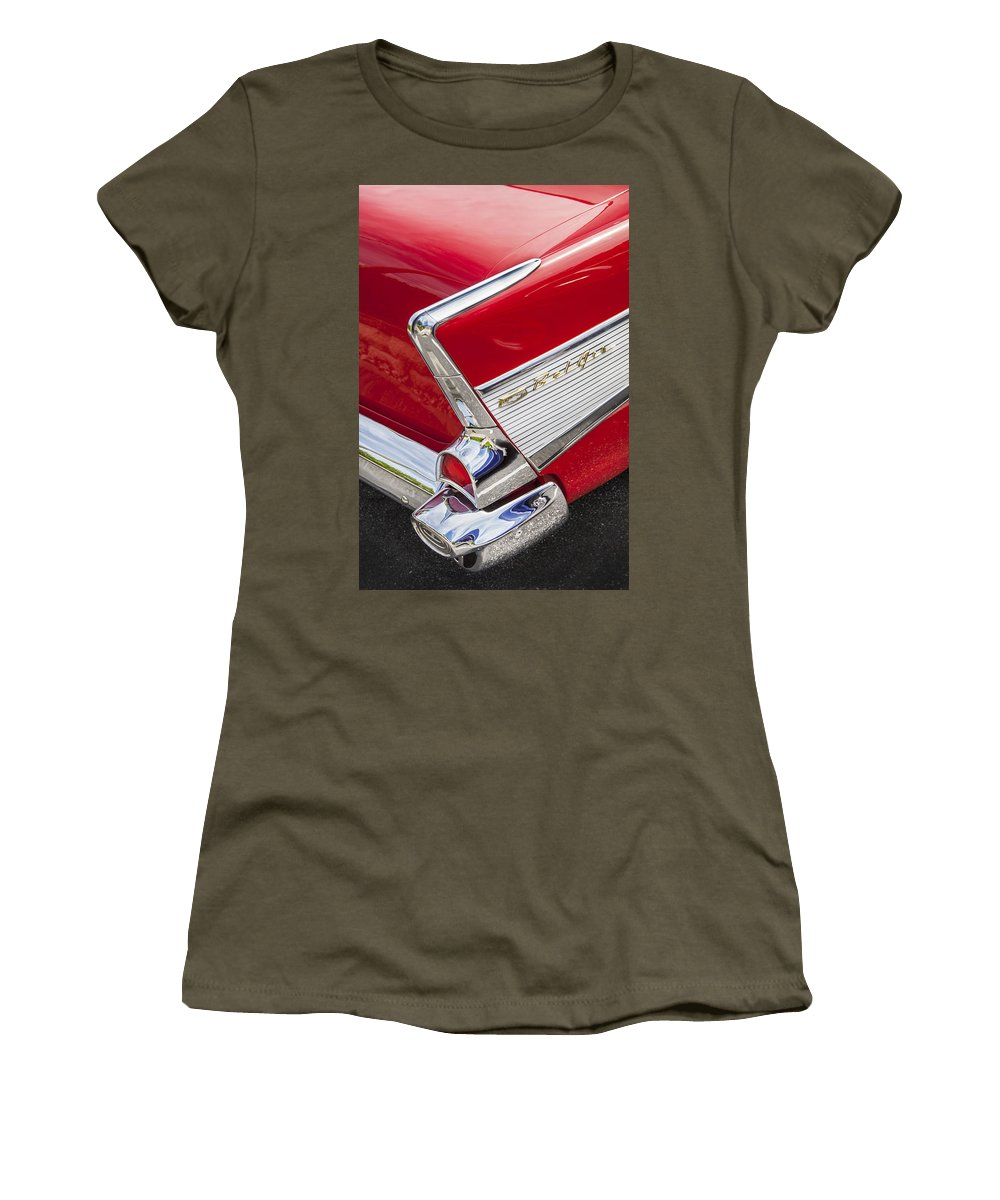 1957 Chevy Women's T-Shirt featuring the photograph Tail Fins Are In 1957 Chevy by Rich Franco