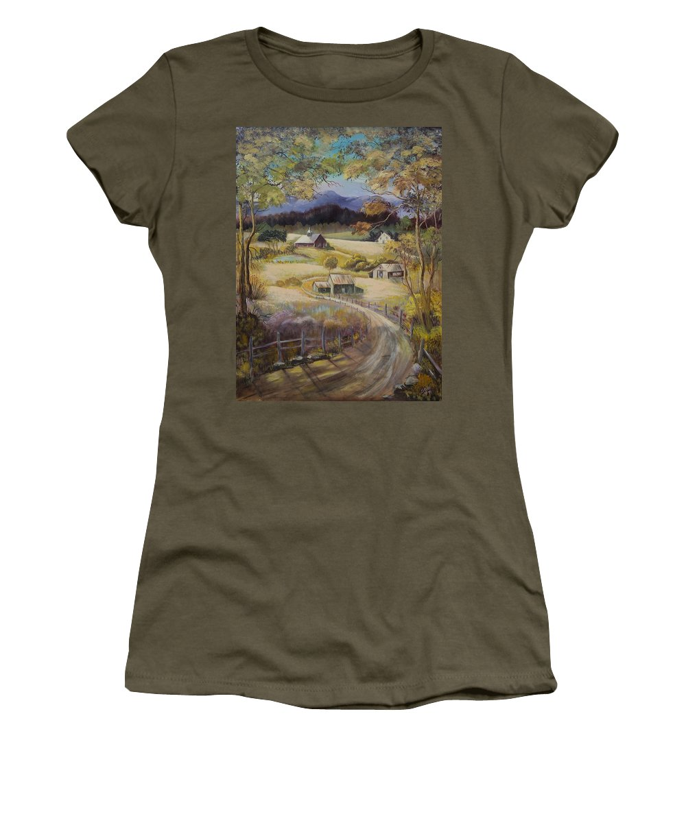 Road Women's T-Shirt featuring the painting Take Me Home by Gladys Berchtold