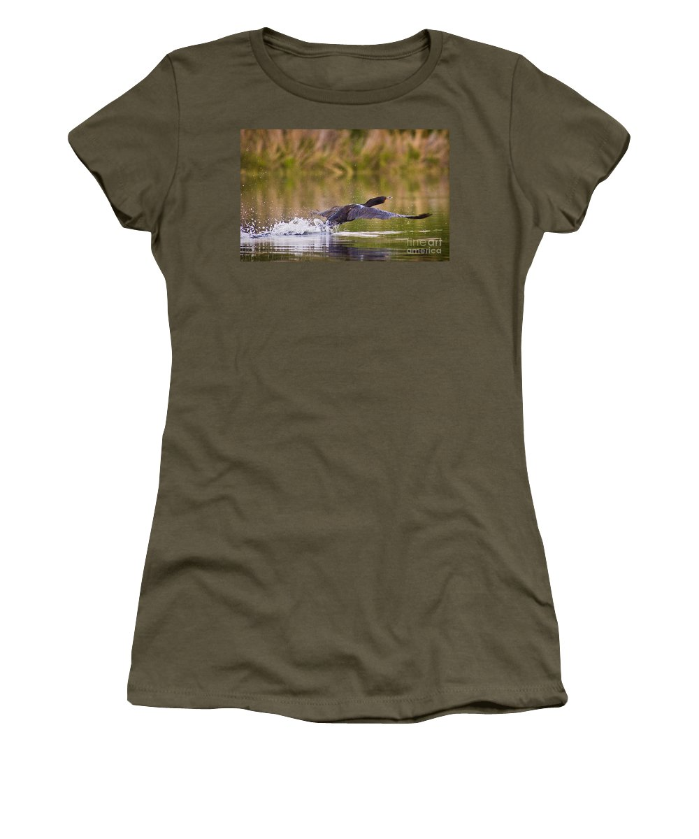 Duck Women's T-Shirt (Athletic Fit) featuring the photograph Take Off by Andrea Goodrich