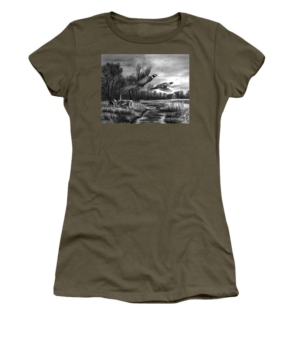 Taking Flight Women's T-Shirt featuring the drawing Taking Flight by Peter Piatt