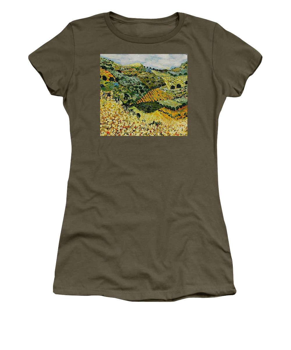 Landscape Women's T-Shirt (Athletic Fit) featuring the painting Tall Grass by Allan P Friedlander