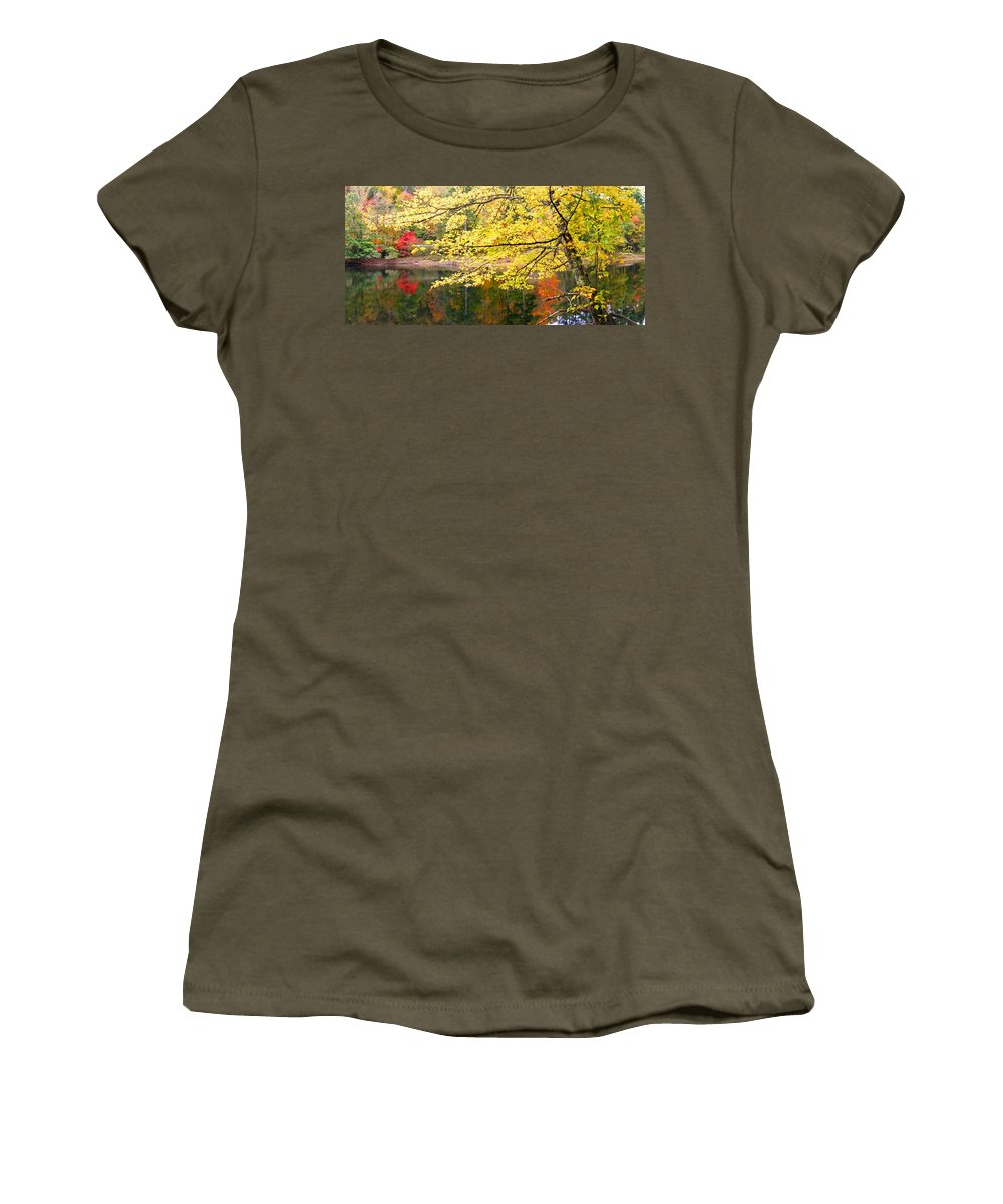Plants Women's T-Shirt featuring the photograph Tanasee Creek Lake And Yellow Tree by Duane McCullough