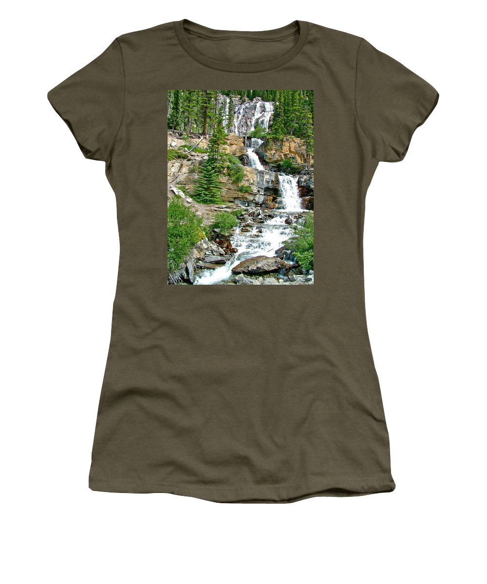 Tangle Falls Along Icefields Parkway In Alberta Women's T-Shirt featuring the photograph Tangle Falls Along Icefield Parkway In Alberta by Ruth Hager