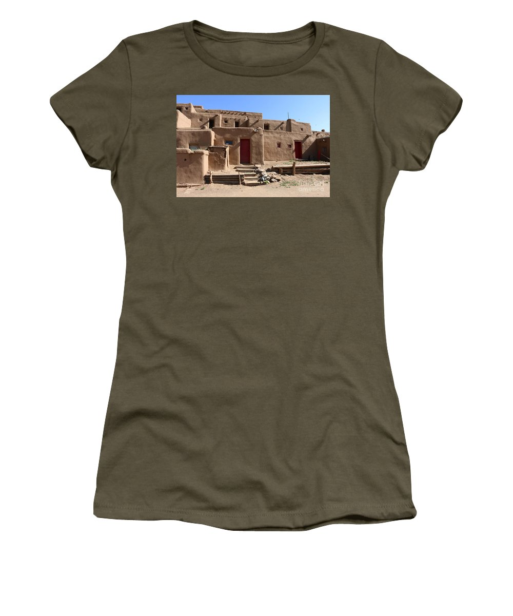 Pueblo Women's T-Shirt featuring the photograph Taos Red Doors by Christiane Schulze Art And Photography