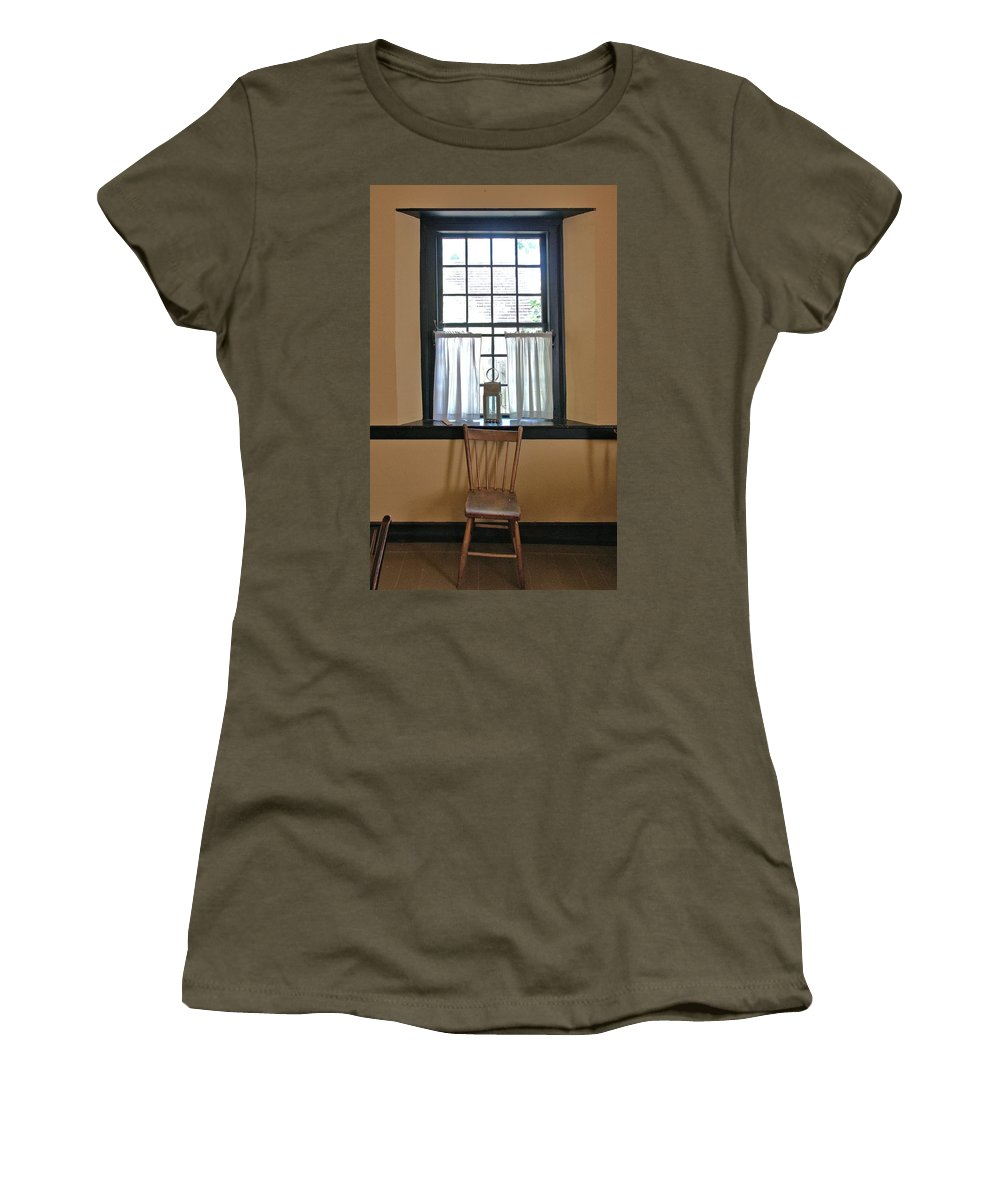 Tavern Women's T-Shirt featuring the photograph Tavern Window And Chair by Valerie Kirkwood