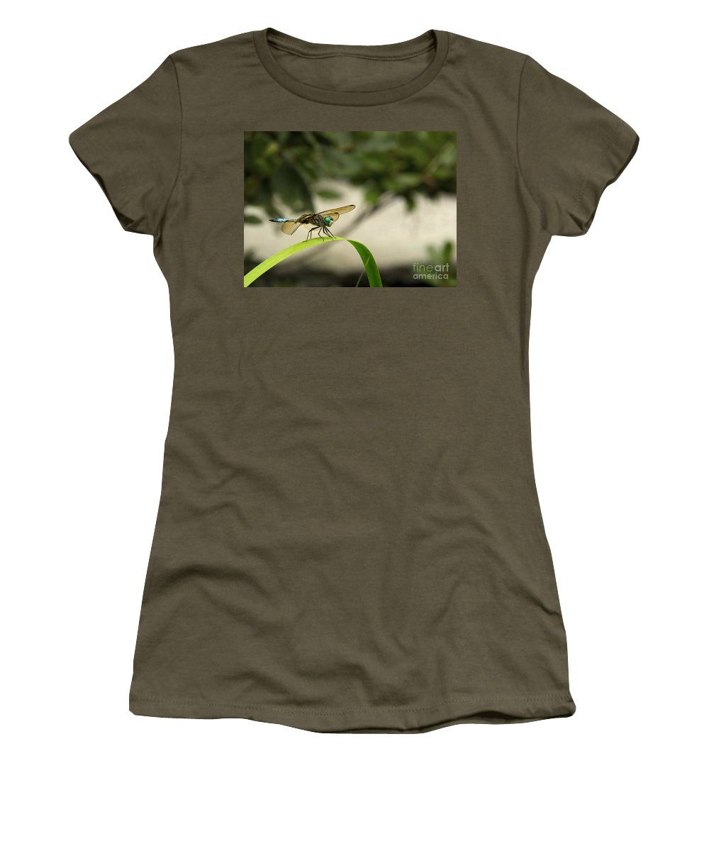 Teal Dragonfly Women's T-Shirt featuring the photograph Teal Dragonfly by Jemmy Archer