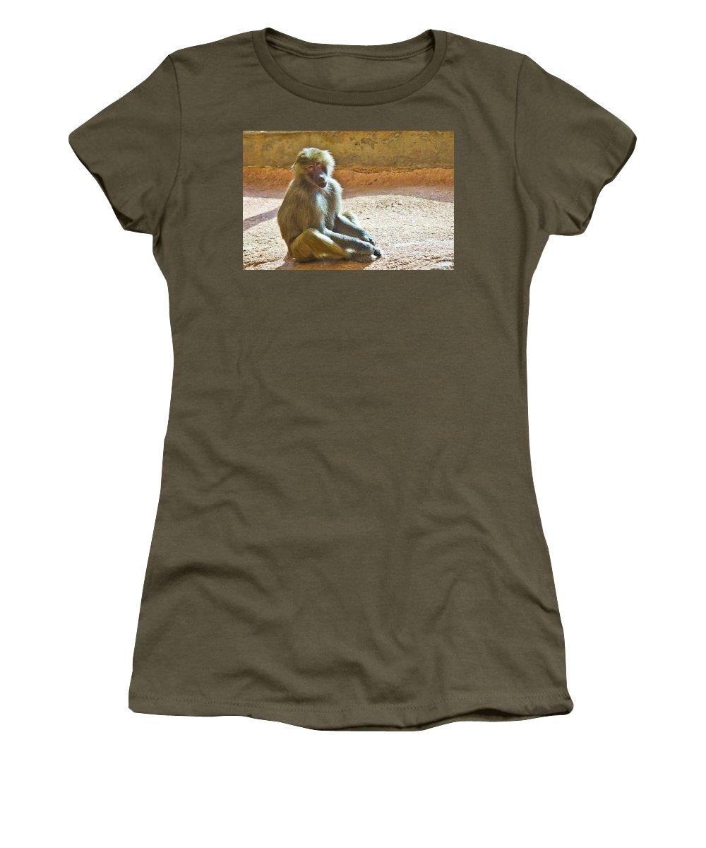 Baboon Women's T-Shirt featuring the photograph Teen Baboon by Jonny D