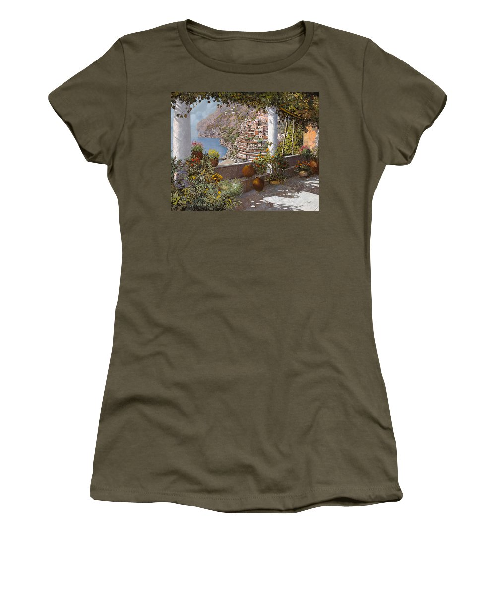 Positano Women's T-Shirt (Athletic Fit) featuring the painting terrazza a Positano by Guido Borelli