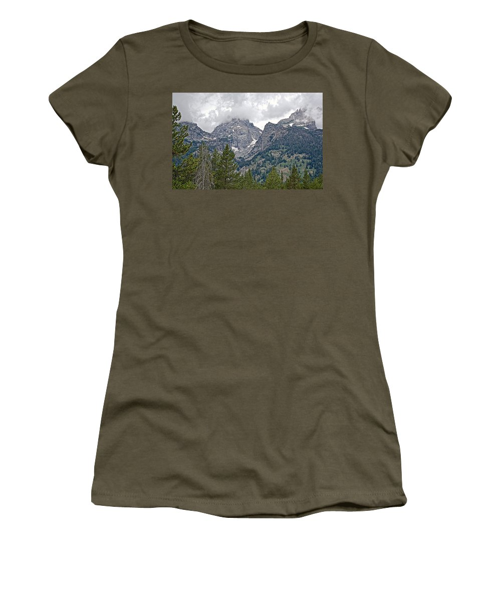 Teton Peaks Near Jenny Lake In Grand Teton National Park Women's T-Shirt featuring the photograph Teton Peaks Near Jenny Lake In Grand Teton National Park-wyoming- by Ruth Hager