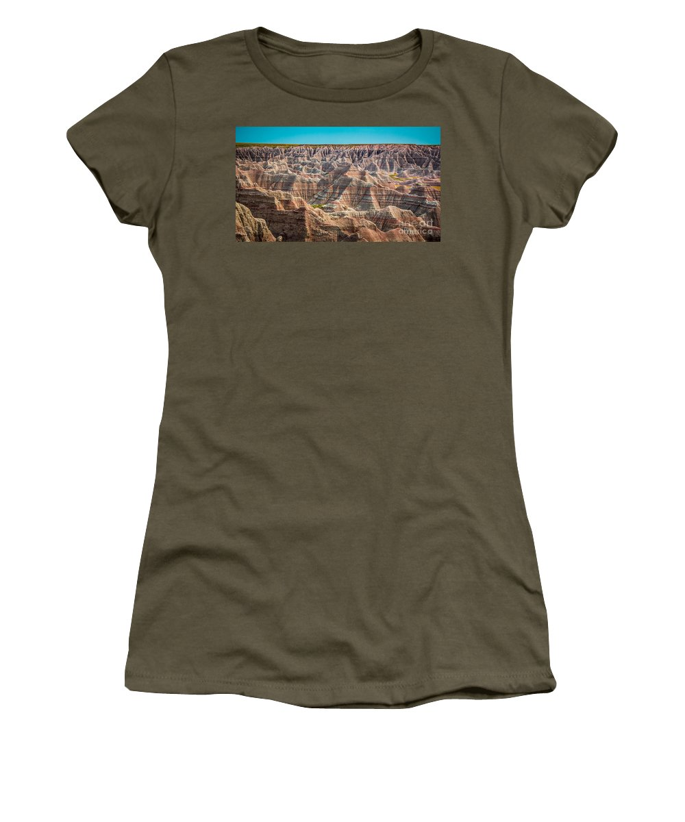 Badlands Women's T-Shirt featuring the photograph Tha Badlands by Perry Webster