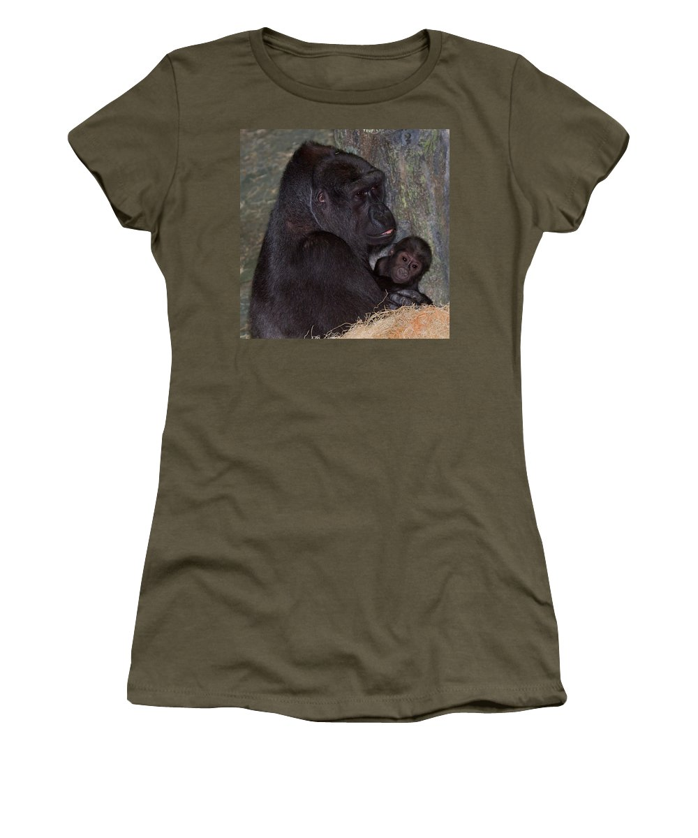 Gorilla Women's T-Shirt featuring the photograph That's My Baby by John Absher