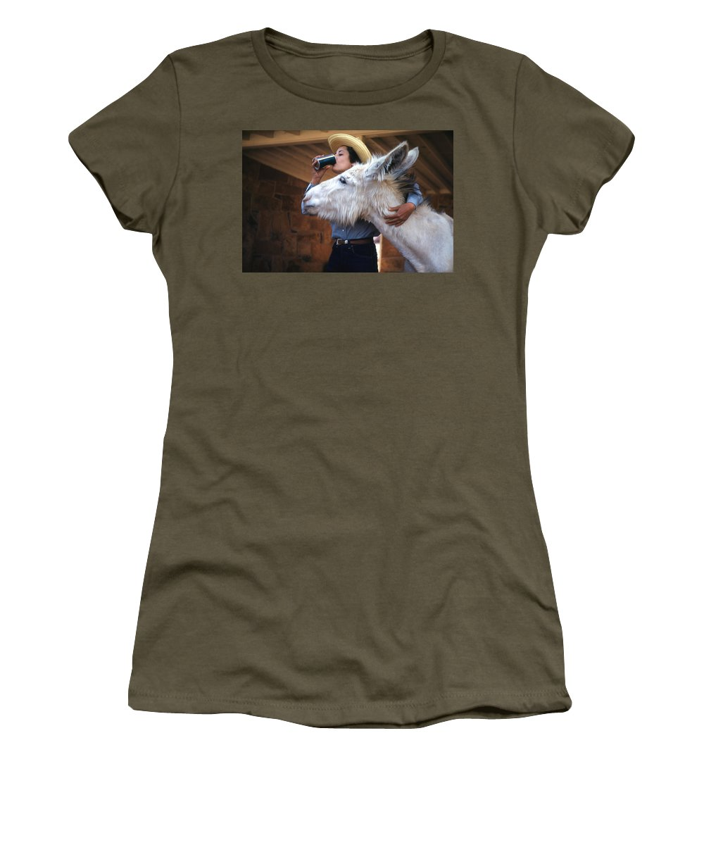 Donkey Helping Girl Drink Coke. Women's T-Shirt (Athletic Fit) featuring the digital art That's My Drink by Cathy Anderson