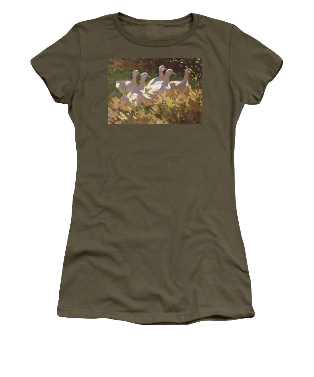 Duck Women's T-Shirt featuring the painting The Adventurers by Edgar Downs