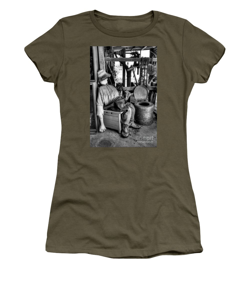 Photography Women's T-Shirt (Athletic Fit) featuring the photograph The Aussie Dunny Can - Black And White by Kaye Menner