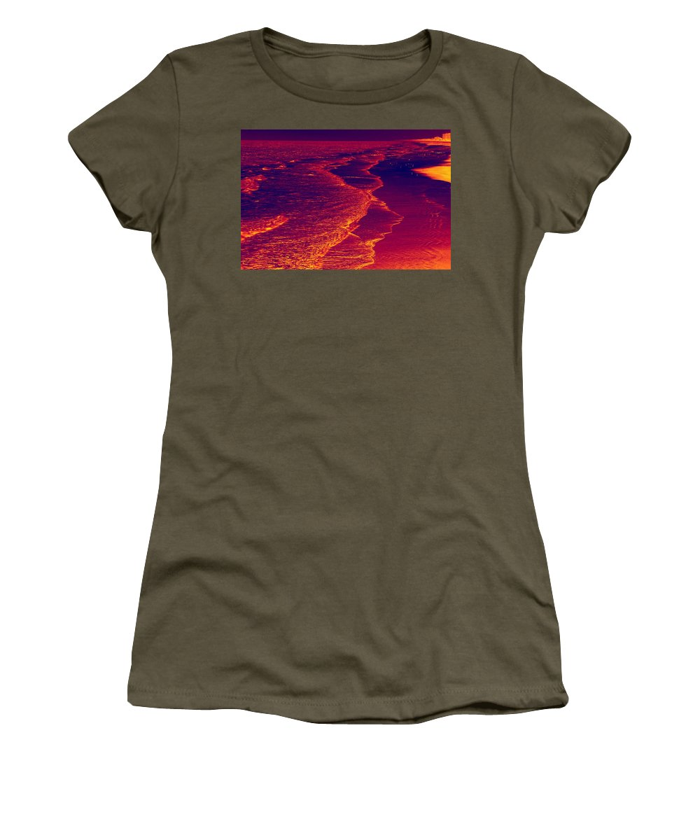Wide Angle Women's T-Shirt featuring the photograph The Beach by Anthony Walker Sr