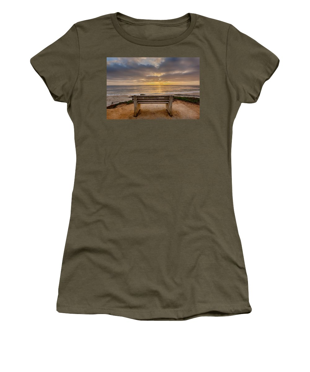 Beach Women's T-Shirt featuring the photograph The Bench Iv by Peter Tellone