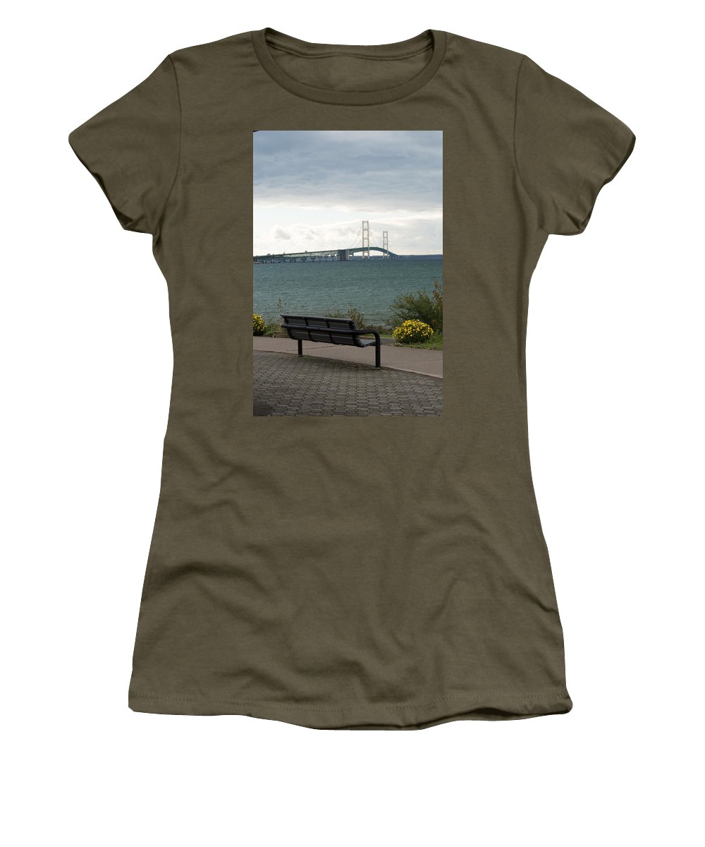 Clouds Women's T-Shirt (Athletic Fit) featuring the photograph The Bench by Linda Kerkau