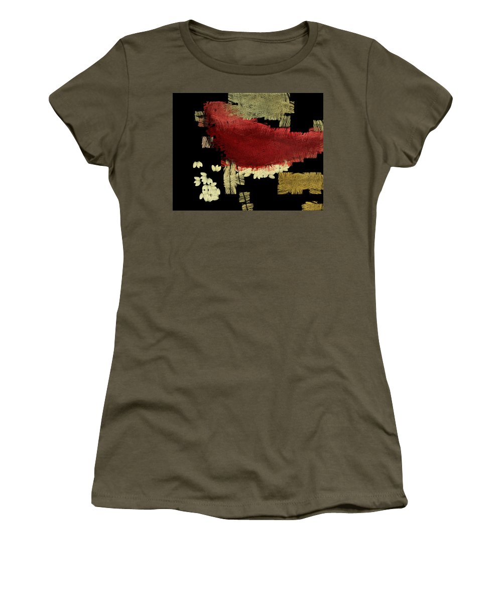 red Bird Women's T-Shirt (Athletic Fit) featuring the painting The Bird - V09a01a by Variance Collections