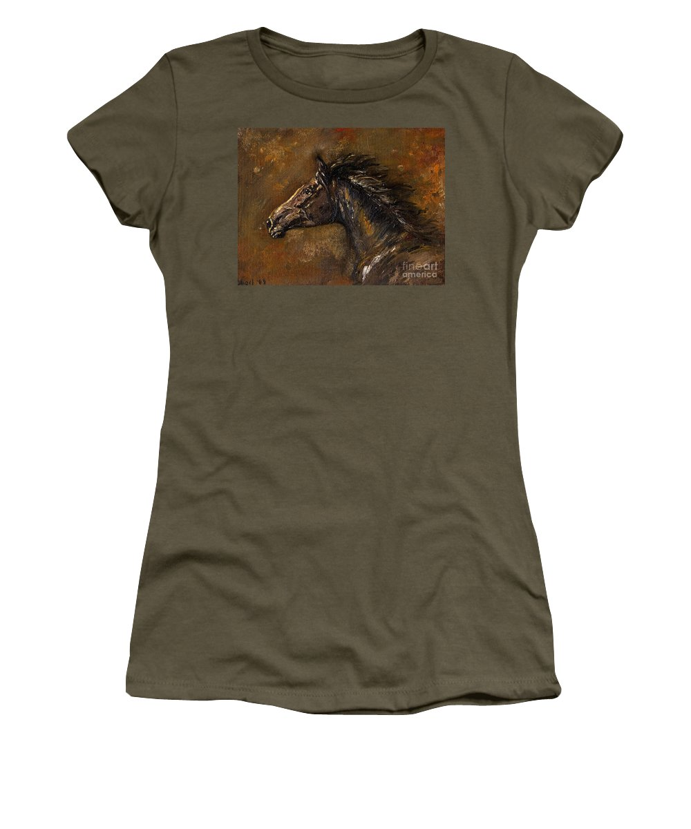 Horse Women's T-Shirt (Athletic Fit) featuring the painting The Black Horse Oil Painting by Angel Ciesniarska