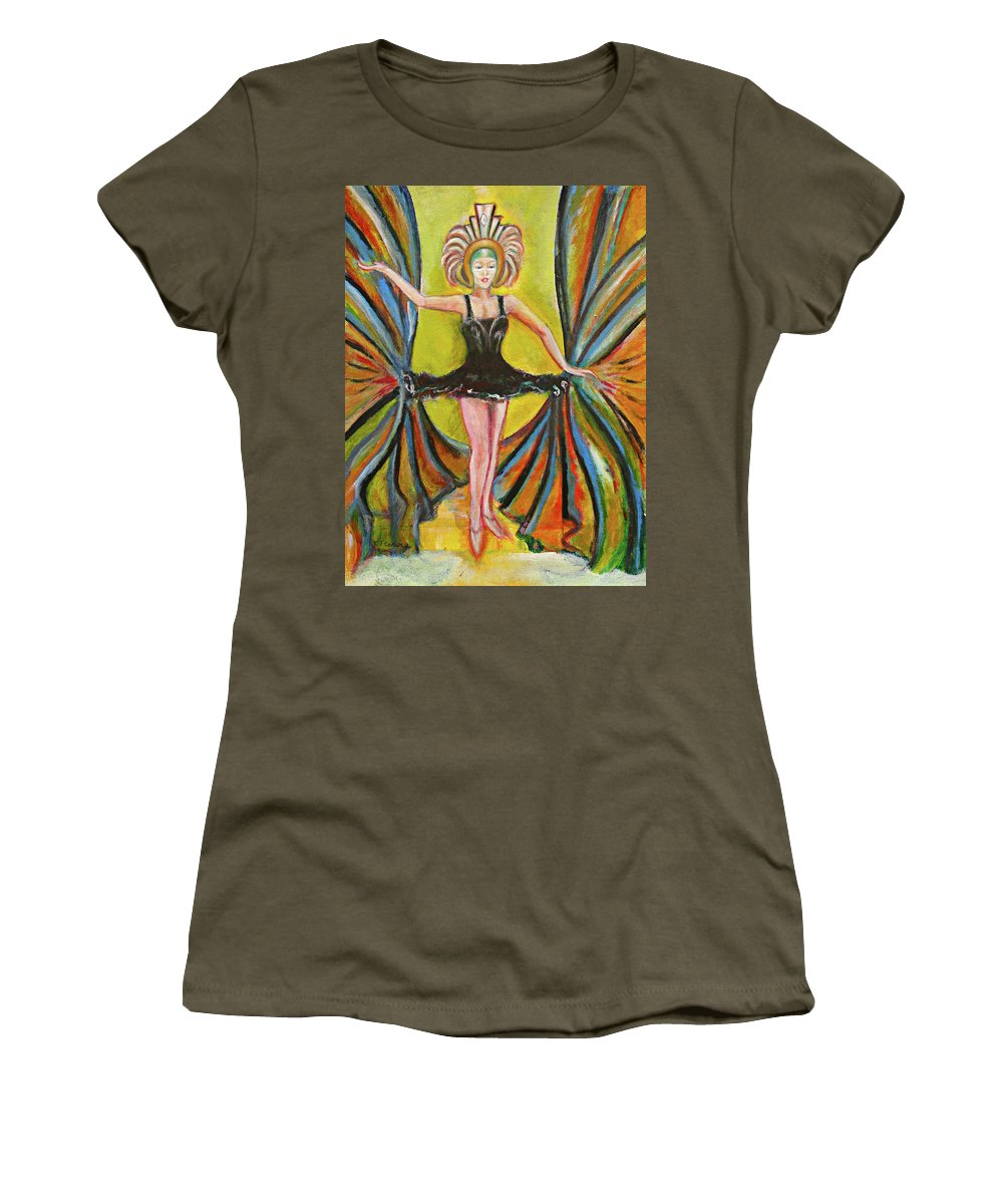 Ballet Women's T-Shirt (Athletic Fit) featuring the painting The Black Tutu by Tom Conway