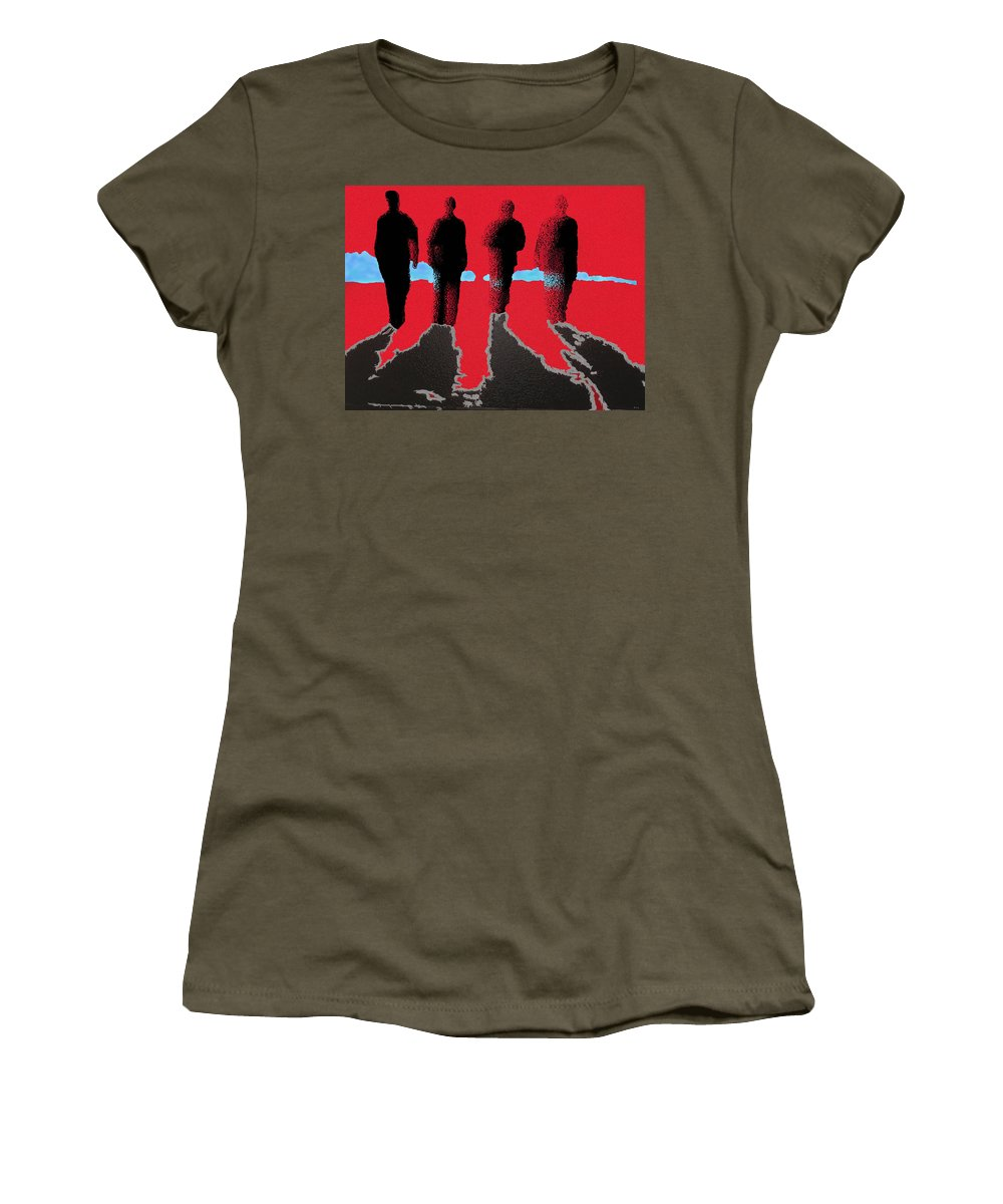 Four Friends Walking Women's T-Shirt featuring the painting The Boys Awalking by Robert Margetts