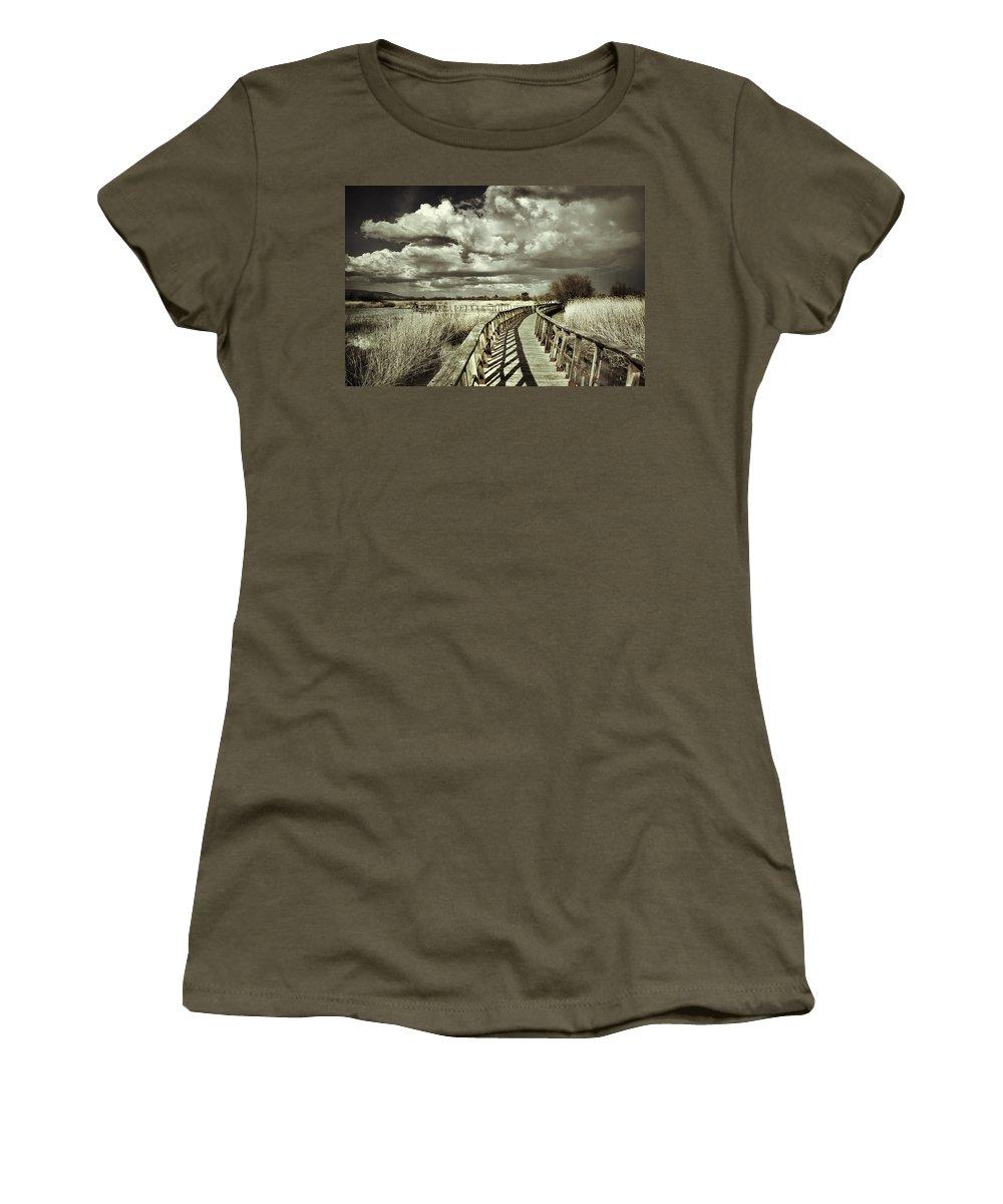 Sunrise Women's T-Shirt featuring the photograph The Bridge Retro Serie by Guido Montanes Castillo