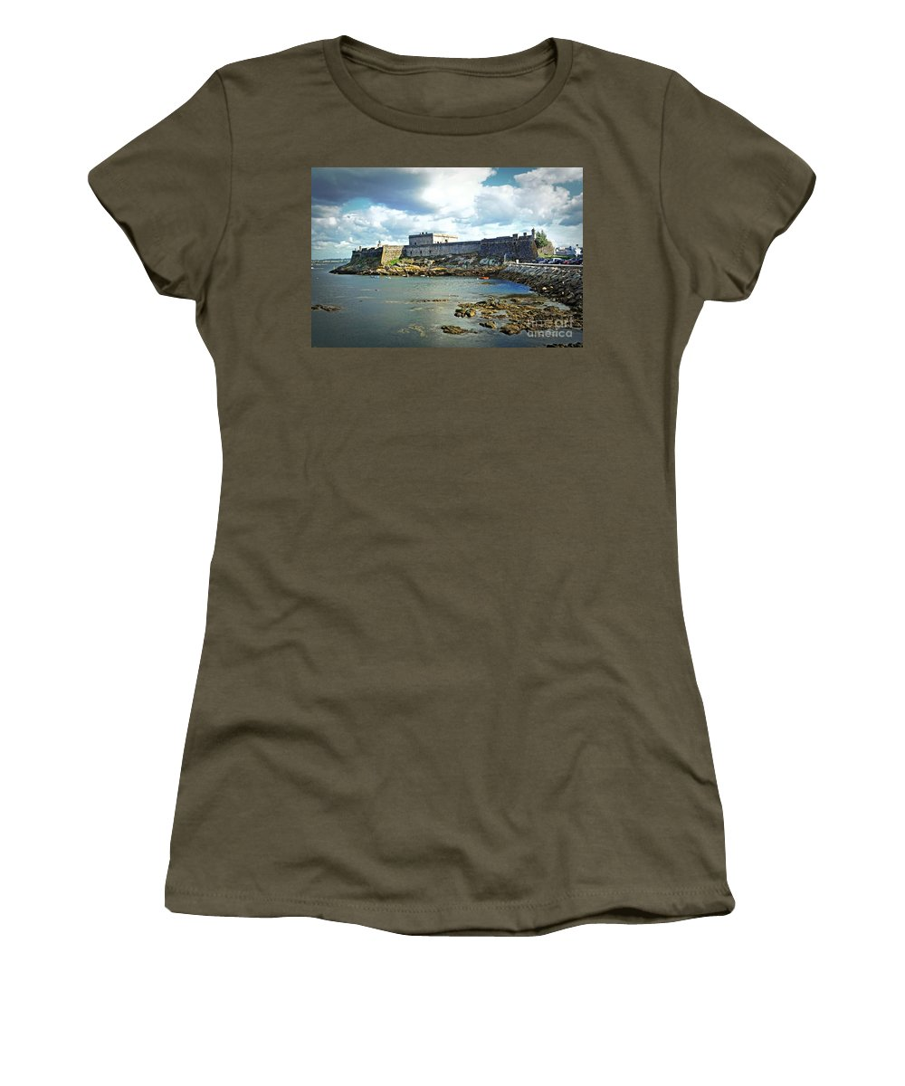 The Fort On The Harbor Women's T-Shirt featuring the photograph The Castle Fort On The Harbor by Mary Machare