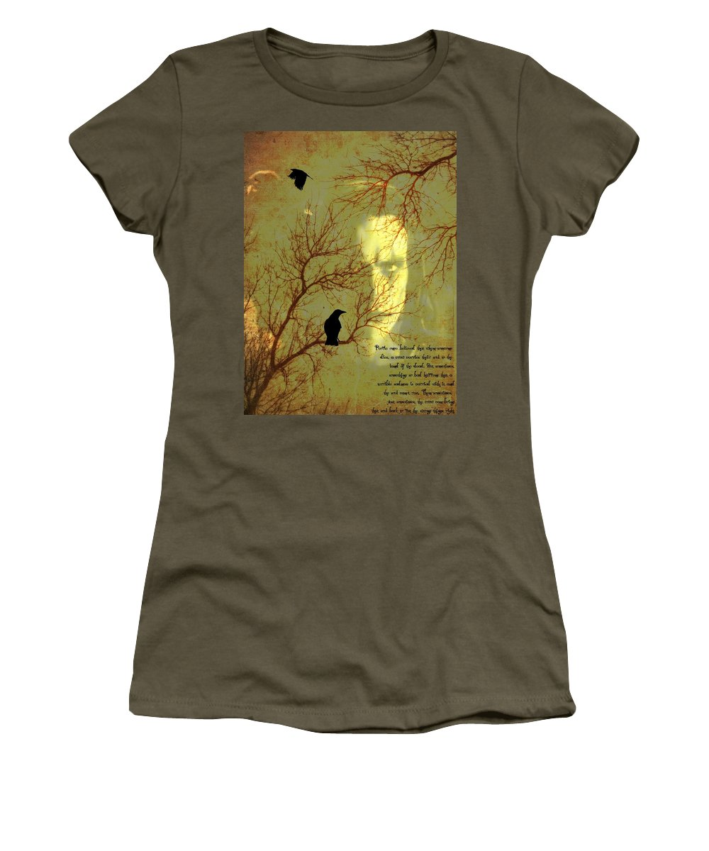 Nevermore Women's T-Shirt (Athletic Fit) featuring the mixed media The Crow by Dan Sproul
