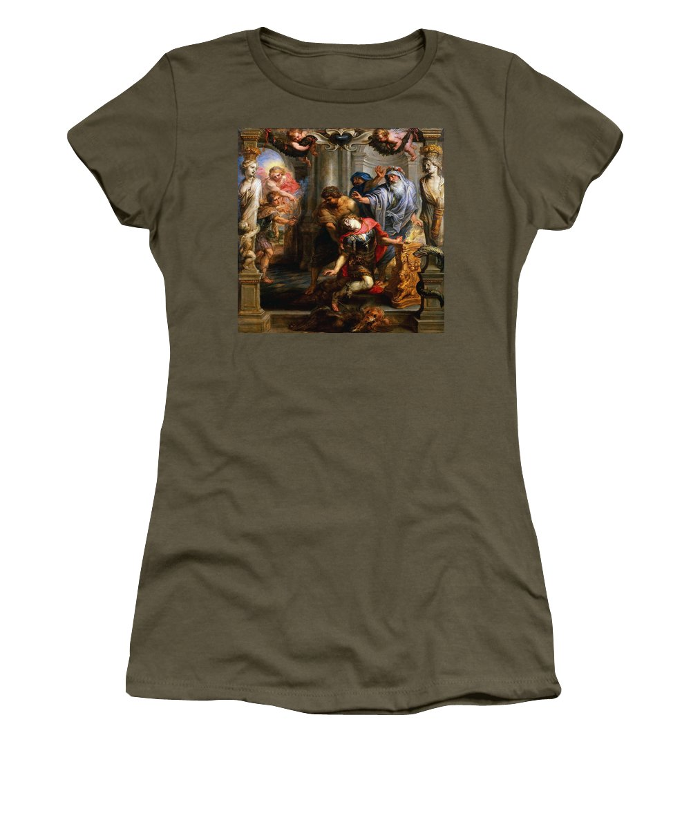 Peter Paul Rubens Women's T-Shirt featuring the painting The Death Of Achilles by Peter Paul Rubens