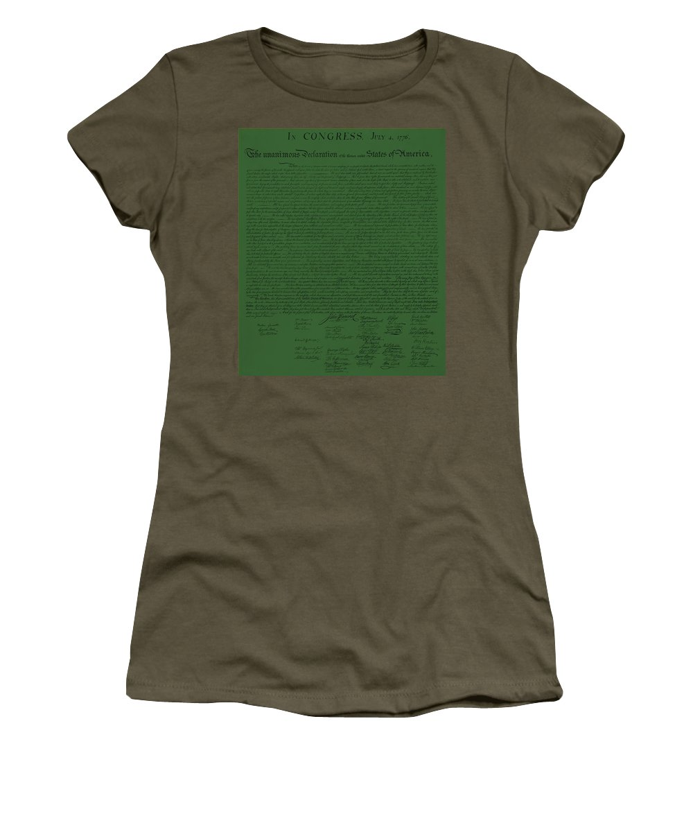 The Declaration Of Independence Women's T-Shirt featuring the photograph The Declaration Of Independence In Olive by Rob Hans