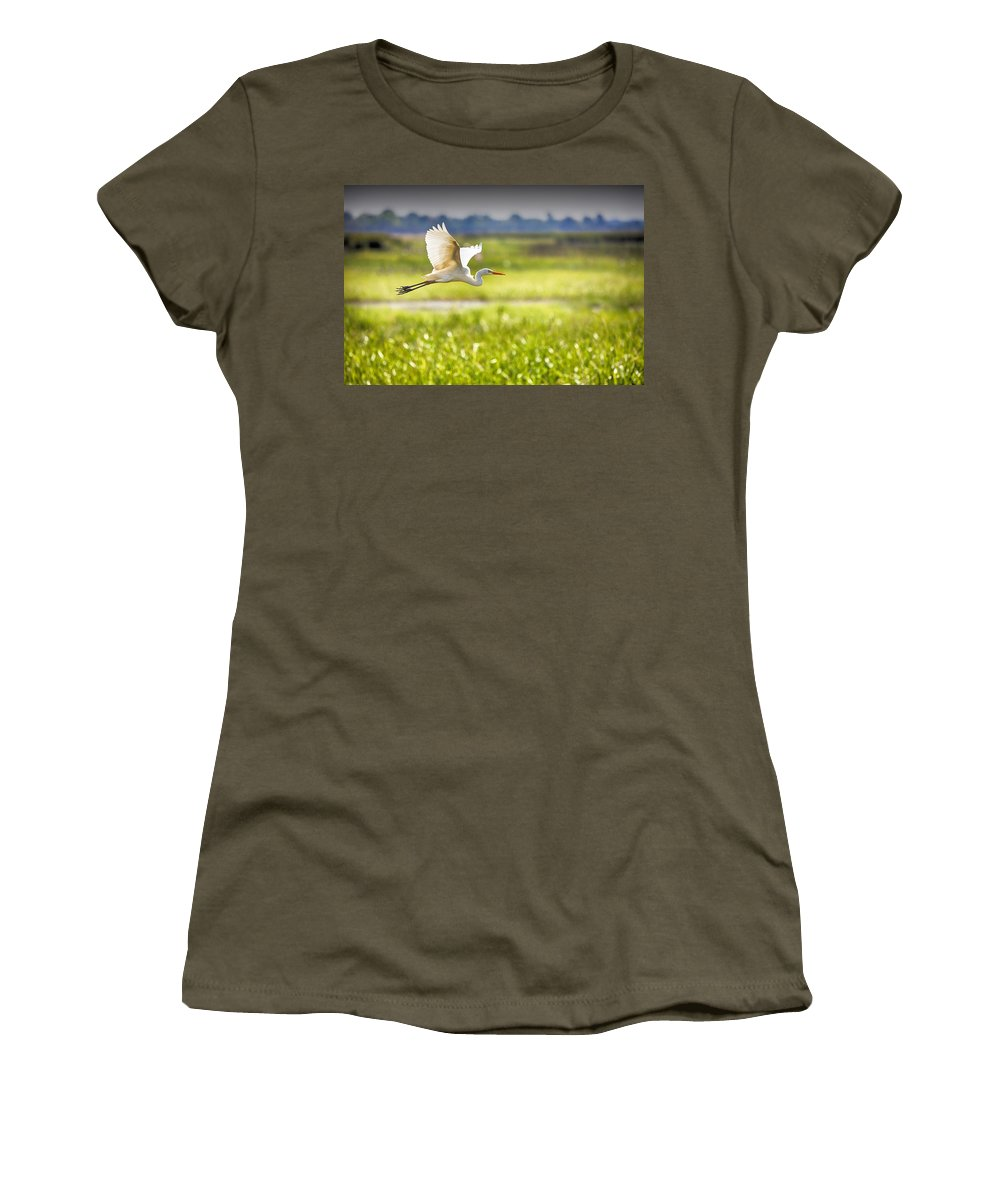 Egret Women's T-Shirt featuring the photograph The Egret In Flight Series V3 by Douglas Barnard