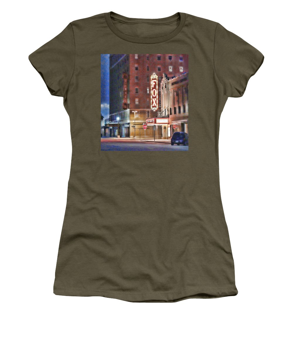 Fox Theater Women's T-Shirt featuring the photograph The Fox After The Show by Sylvia Thornton