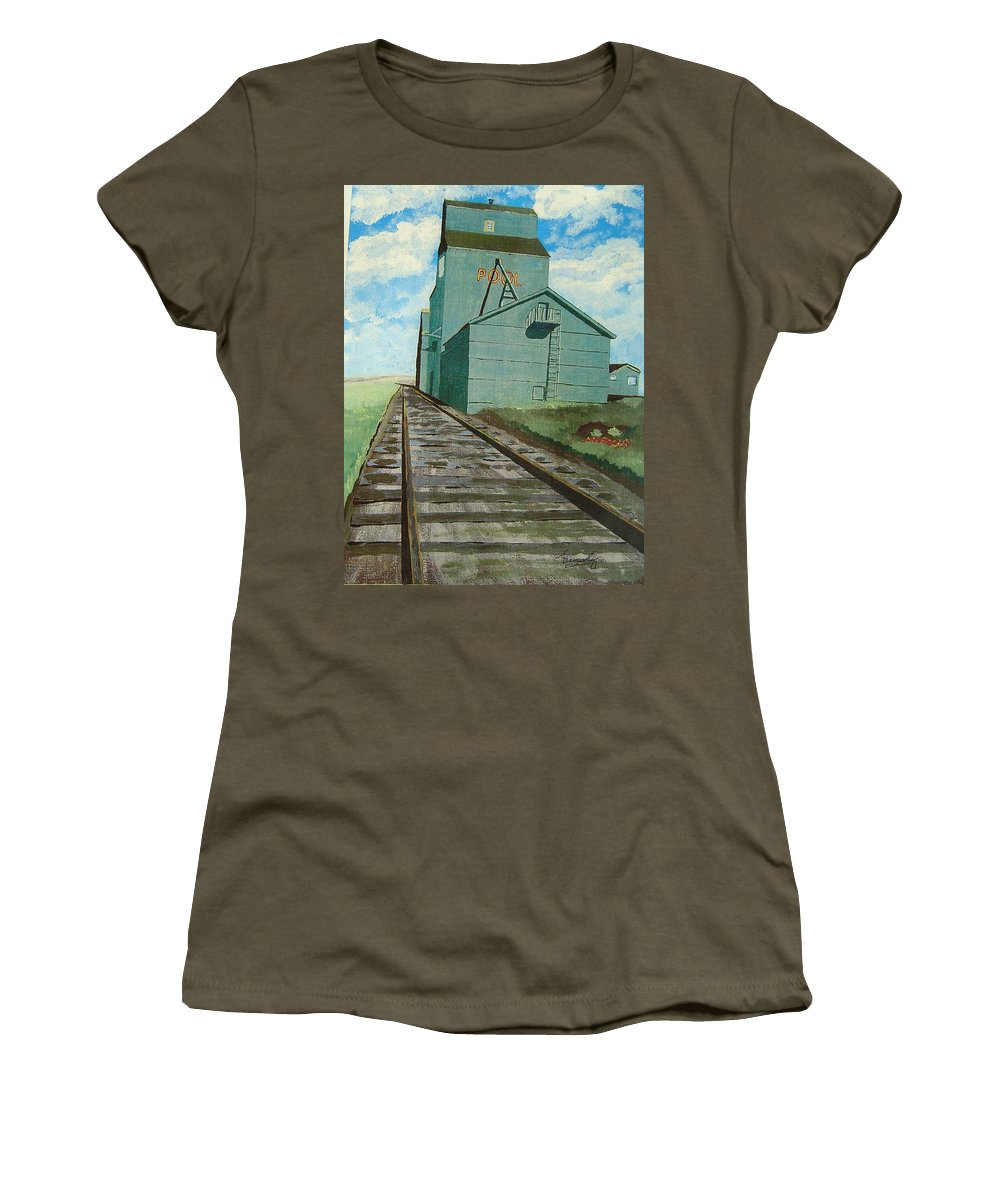 Elevator Women's T-Shirt featuring the painting The Grain Elevator by Anthony Dunphy
