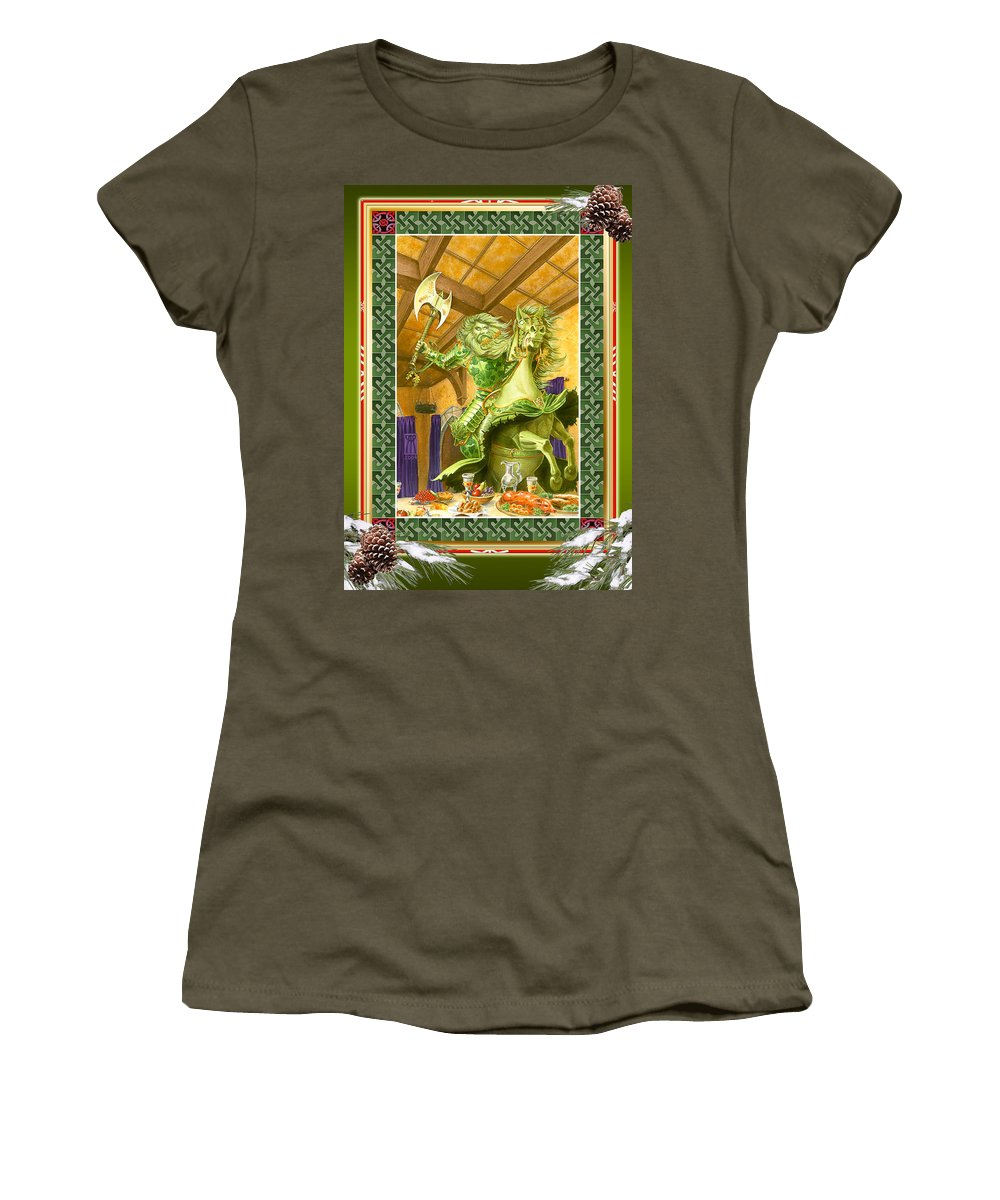Christmas Women's T-Shirt featuring the painting The Green Knight Christmas Card by Melissa A Benson