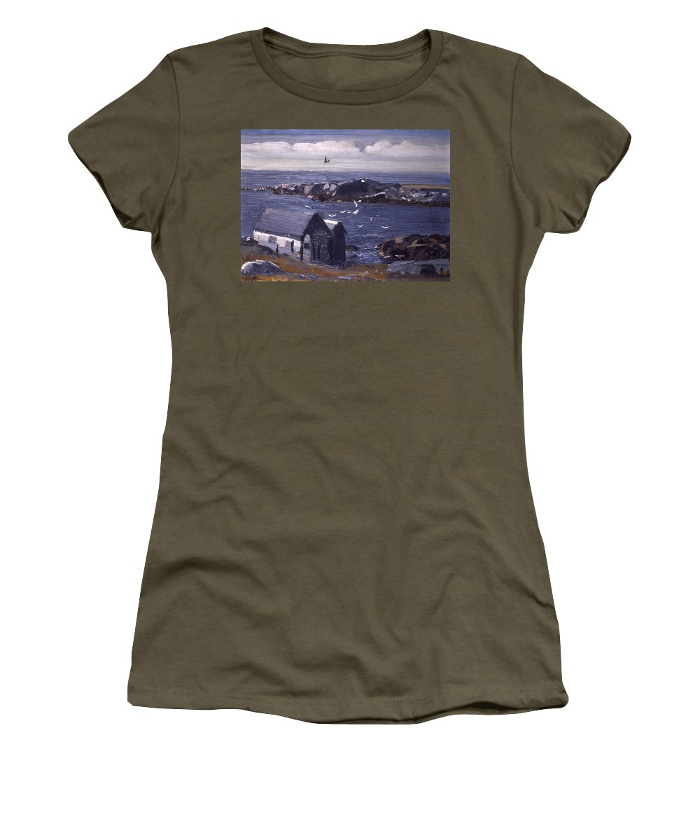 Seagulls Women's T-Shirt featuring the painting The Gulls Of Monhegan by Mountain Dreams