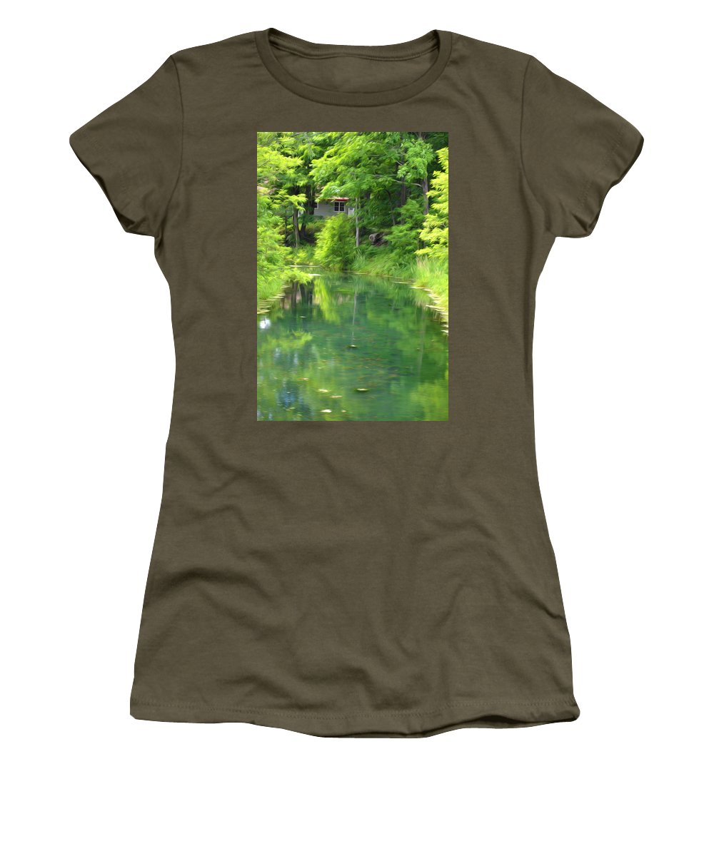 Architecture Women's T-Shirt featuring the painting The House On The Bank Of The Lake by Jeelan Clark