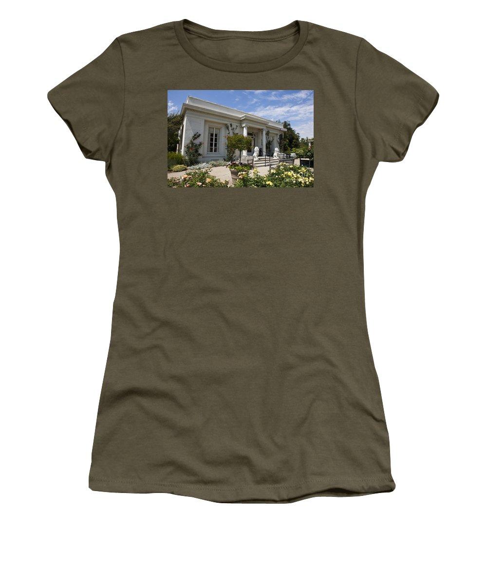 Huntington Library Women's T-Shirt featuring the photograph The Huntington Library Rose Garden Tea House by Jason O Watson