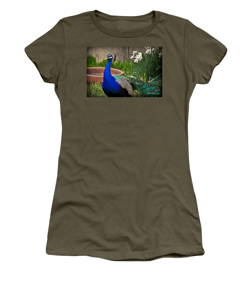Male Women's T-Shirt featuring the photograph The Indian Peafowl by Gary Keesler
