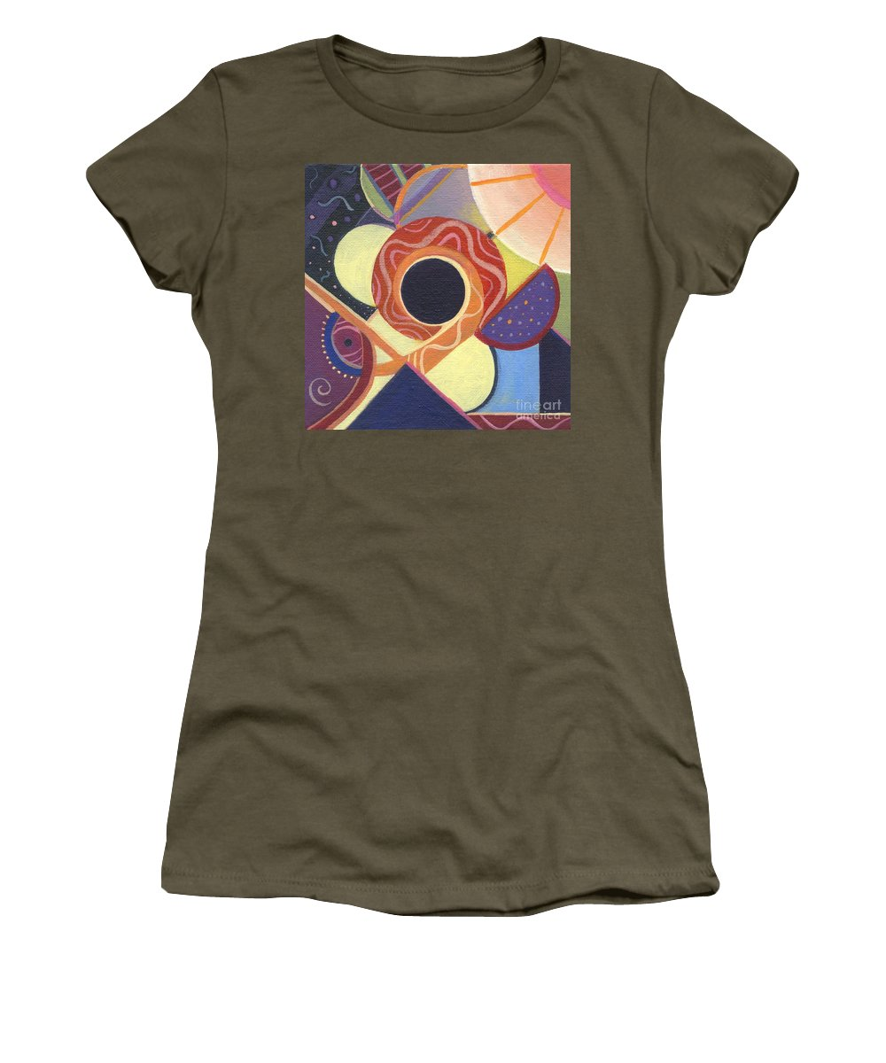 Abstract. Figurative Women's T-Shirt featuring the painting The Joy Of Design X X by Helena Tiainen