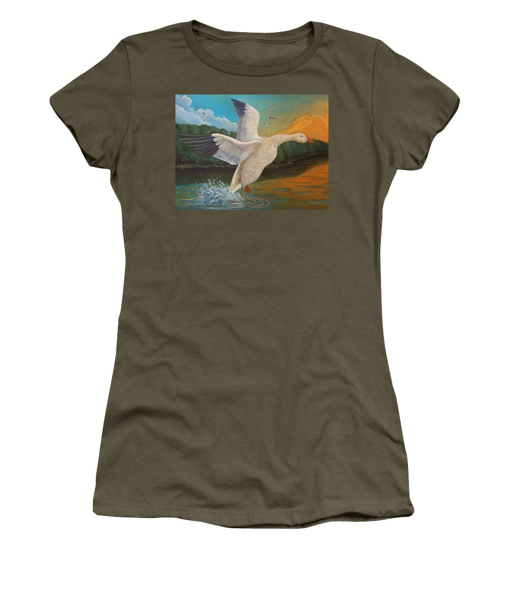 Rick Huotari Women's T-Shirt (Athletic Fit) featuring the painting The Landing by Rick Huotari