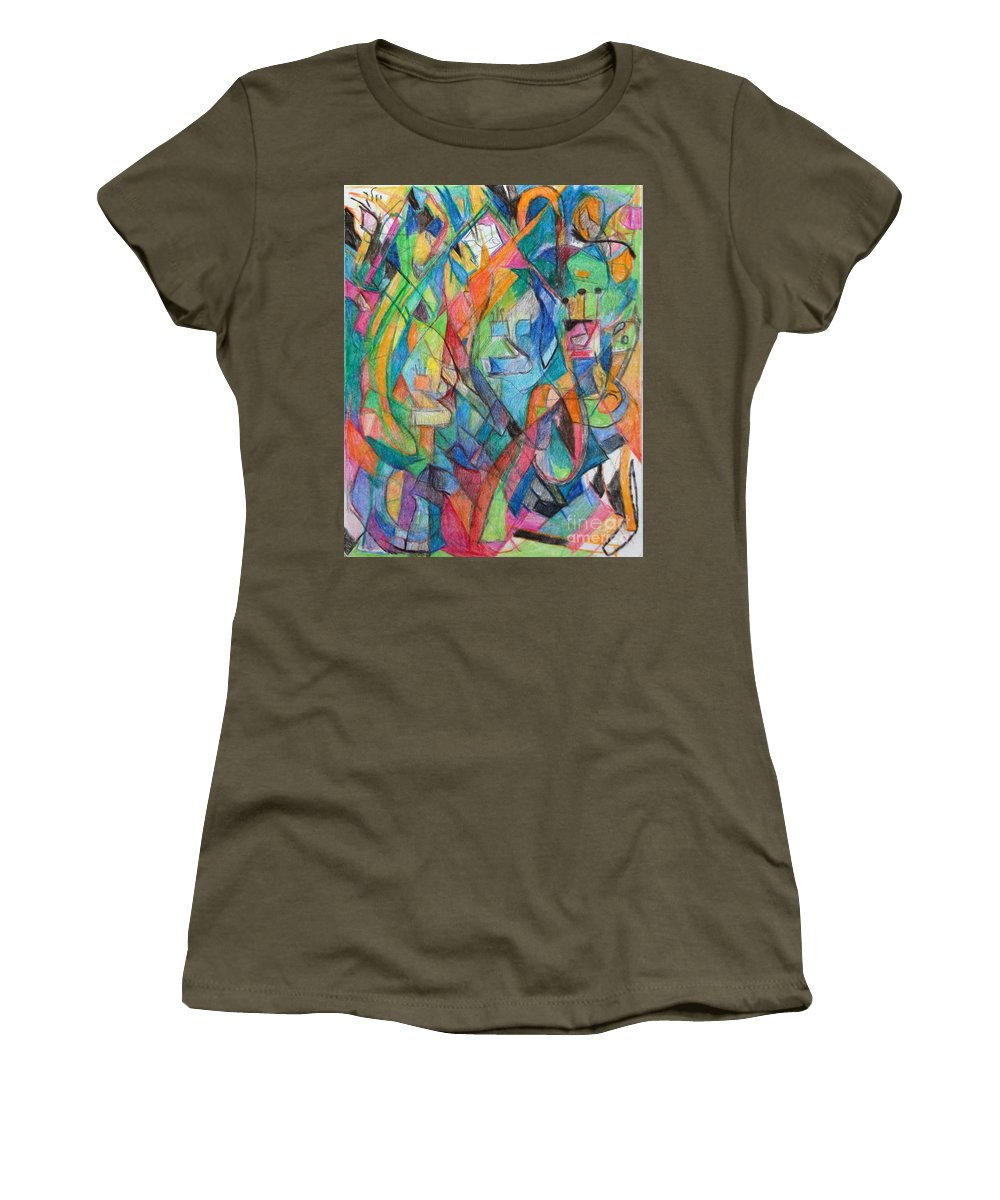 Women's T-Shirt featuring the drawing the letter Tzadi 2 by David Baruch Wolk