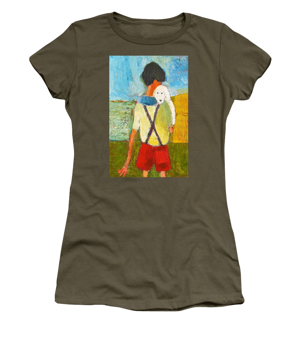 Abstract Women's T-Shirt (Athletic Fit) featuring the painting The Little Puppy by Habib Ayat