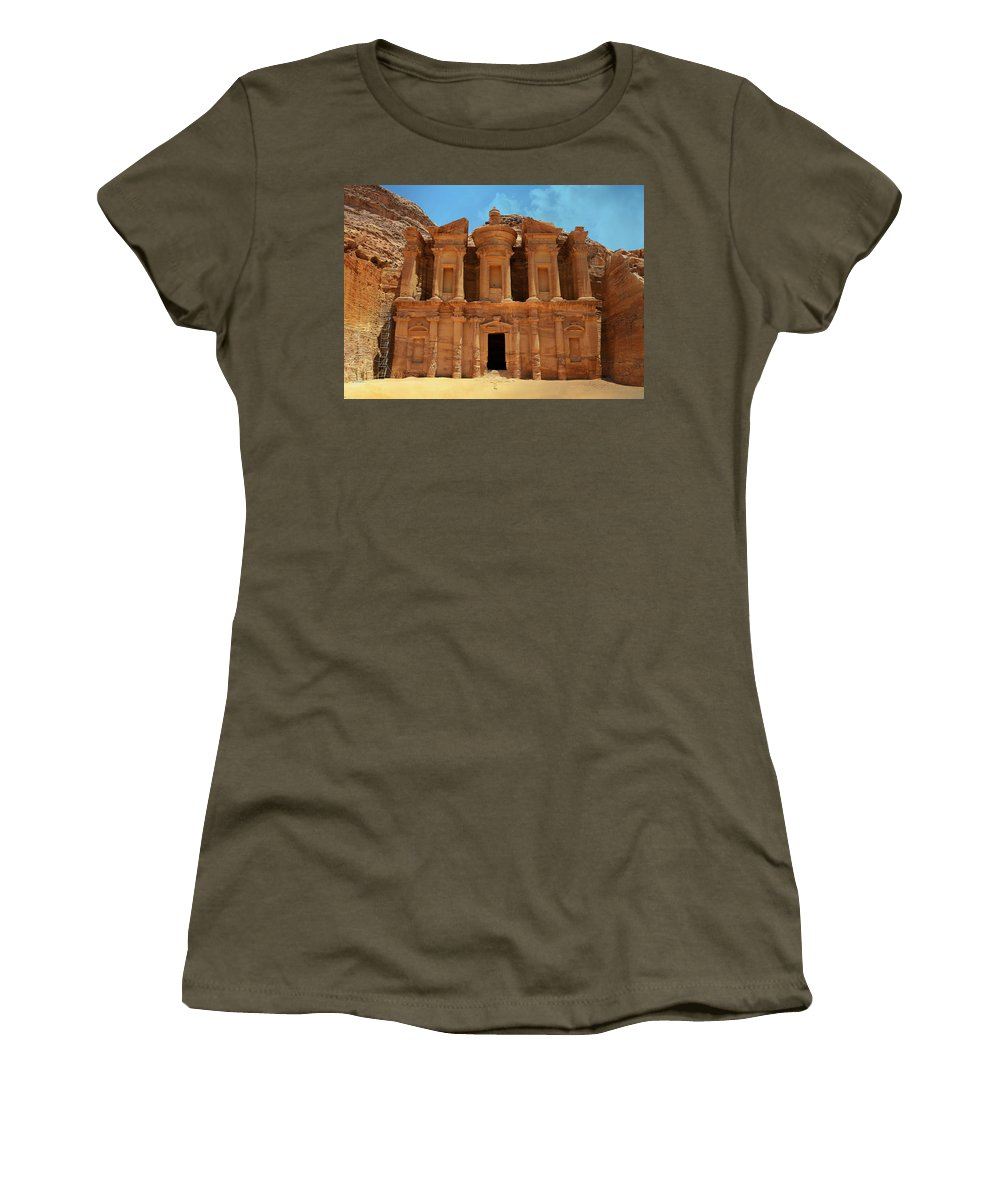 Ad-dayr Women's T-Shirt featuring the photograph The Monastery At Petra by Stephen Stookey
