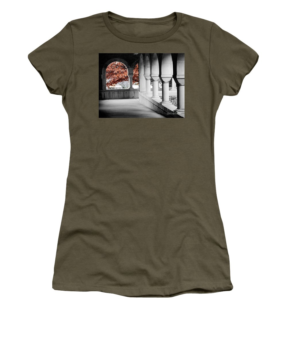 Monastery Women's T-Shirt featuring the photograph The Monastery In Autumn by Mike Nellums