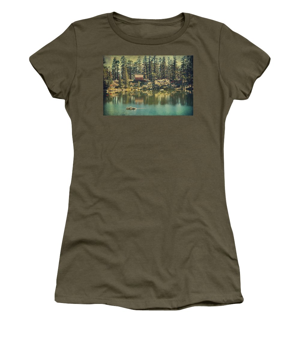 South Lake Tahoe Women's T-Shirt featuring the photograph The Old Days By The Lake by Laurie Search