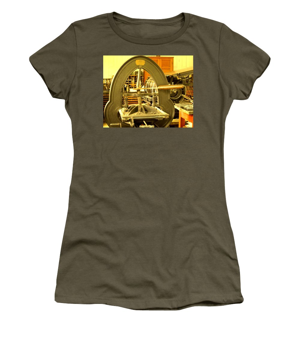 Pioneer Women's T-Shirt featuring the photograph The Old Printing Press by Ian MacDonald