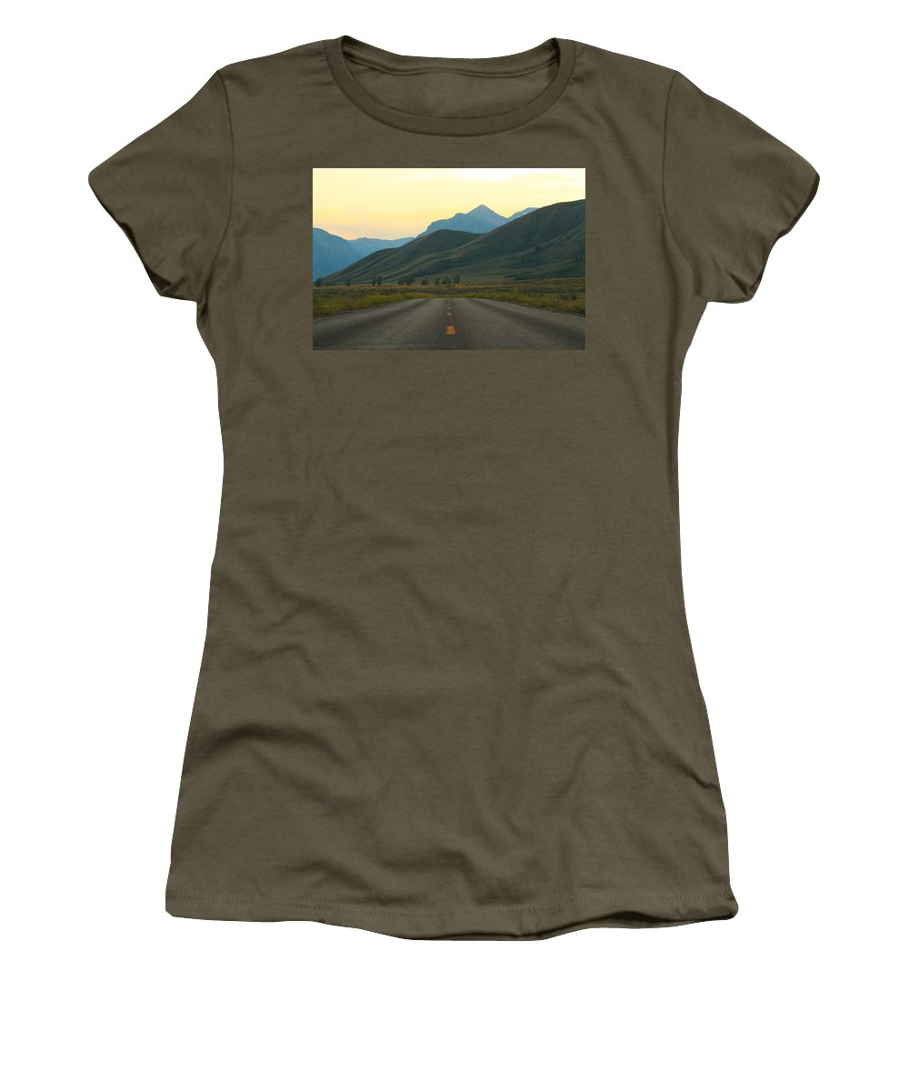 Jackson Hole Women's T-Shirt featuring the photograph The Open Road by Catie Canetti
