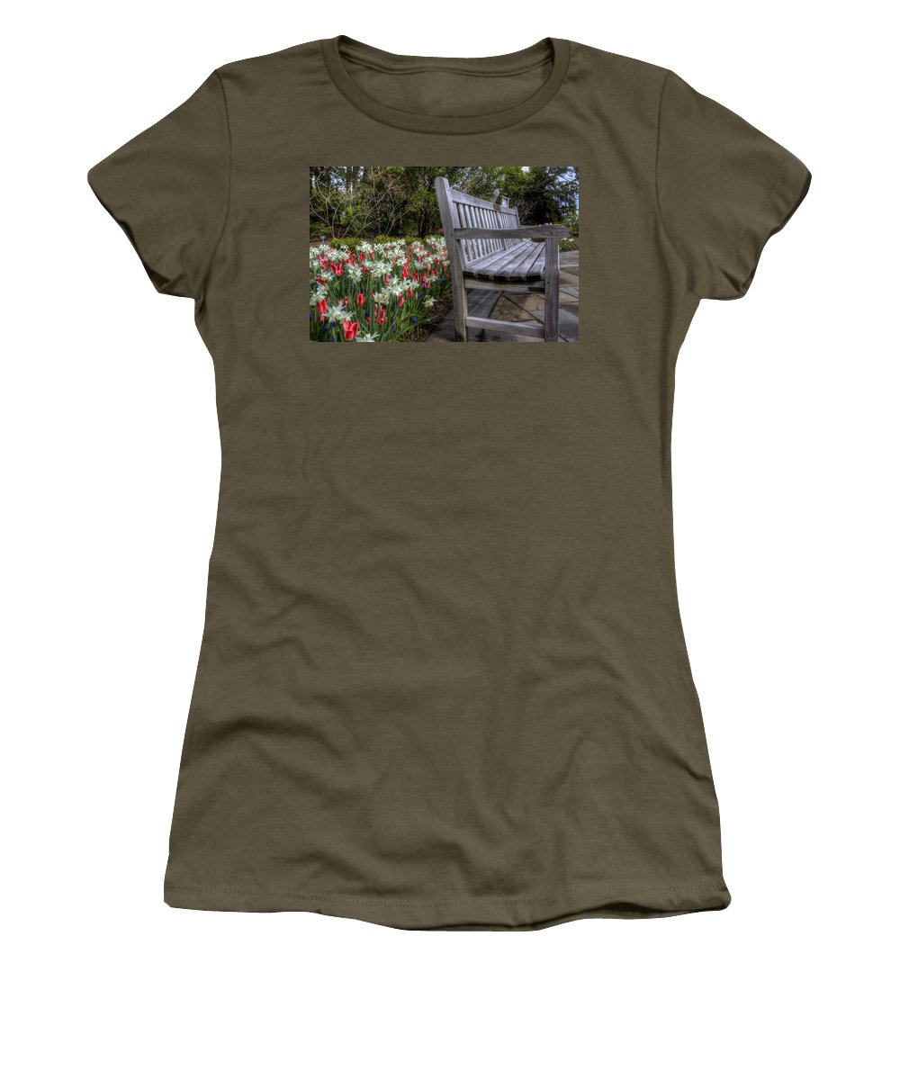 Flowers Women's T-Shirt featuring the photograph The Park Bench by David Dufresne