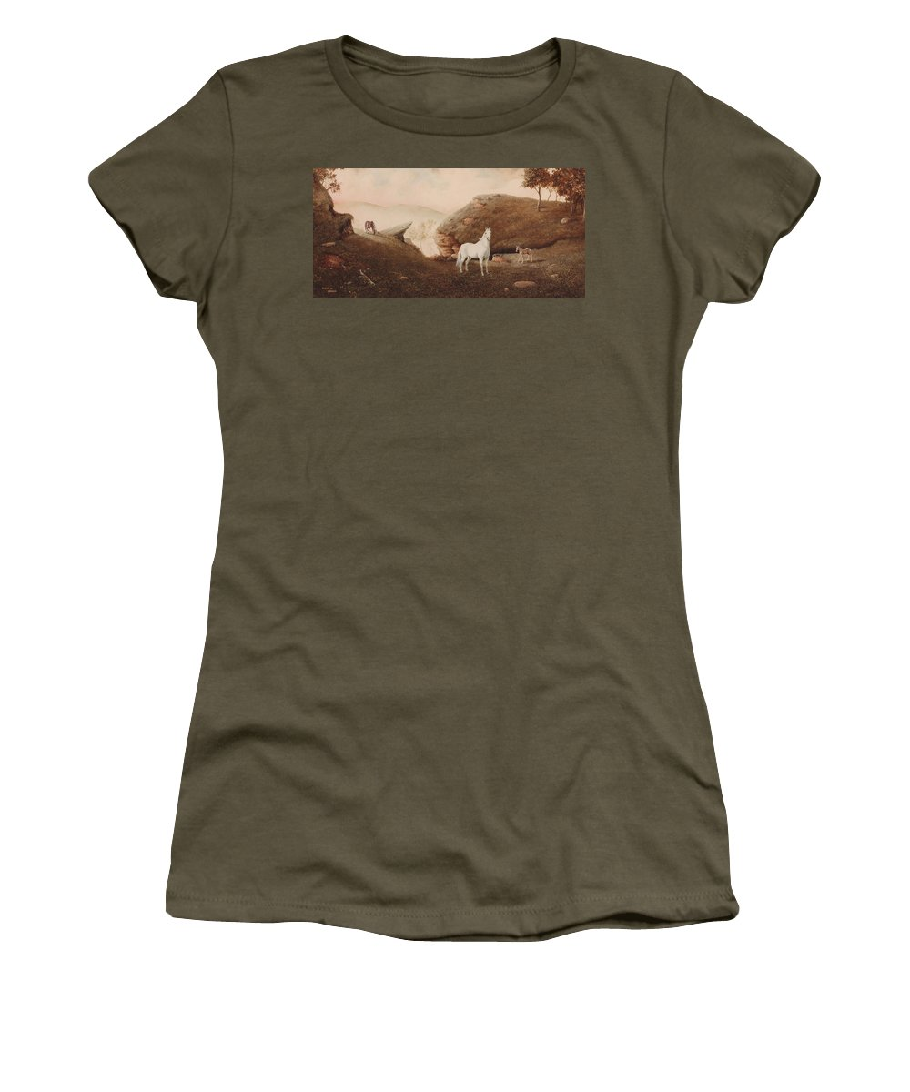 Horse Women's T-Shirt (Athletic Fit) featuring the painting The Patriarch by Duane R Probus